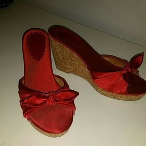 Soiree red cork wedge heels